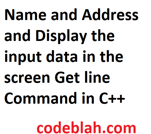 Name and Address and Display the input data in the screen Get line Command in C++