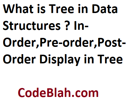 What is Tree in Data Structures ? In-Order,Pre-order,Post-Order Display in Tree