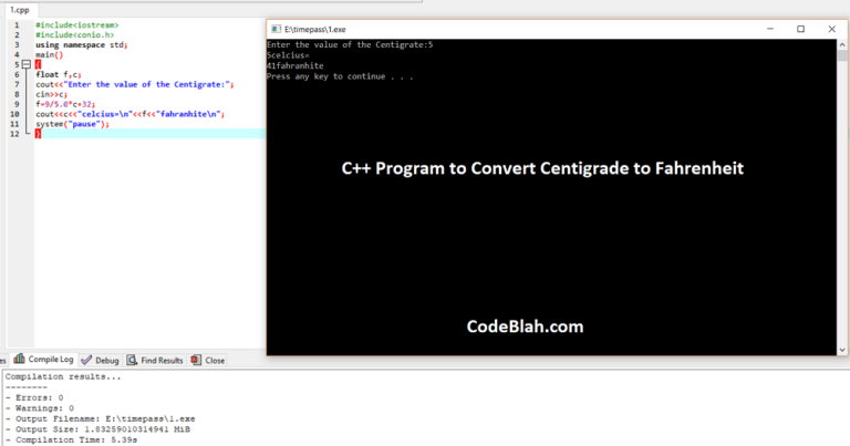 C++ Program to Convert Centigrade to Fahrenheit