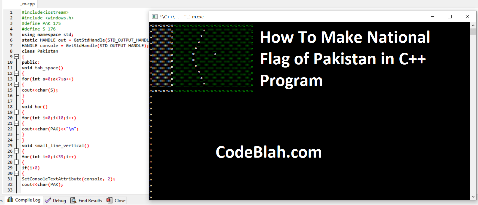 How To Make National Flag of Pakistan in C++ Program