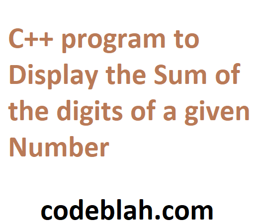 C++ program to Display the Sum of the digits of a given Number