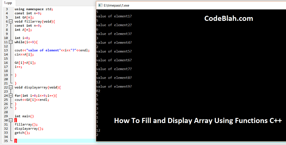 How To Fill and Display Array Using Functions C++