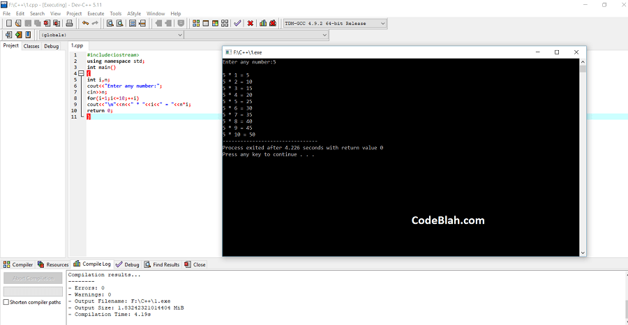 C++ Program to Print Table of Any Number