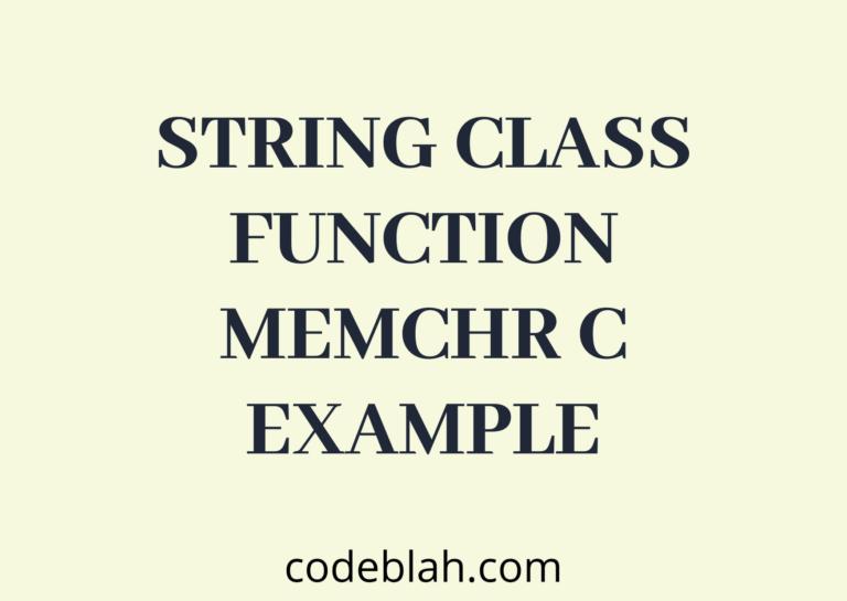 C String Library Function memchr