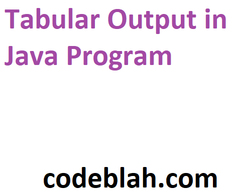 Tabular Output in Java Program