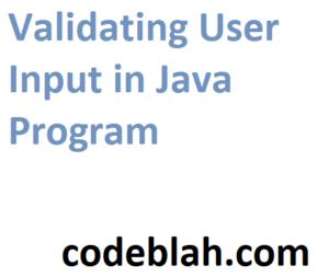 Validating User Input in Java Program
