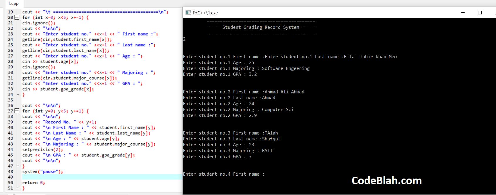 GPA Calculator in C++