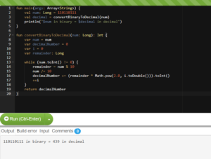 Kotlin Program to Convert Binary Number to Decimal and vice-versa