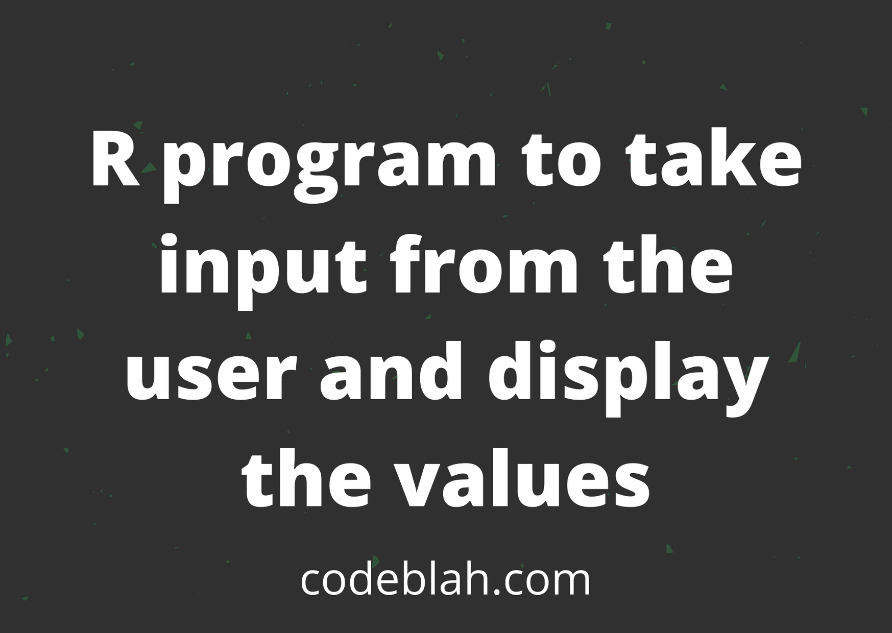 R Program to Take Input From User