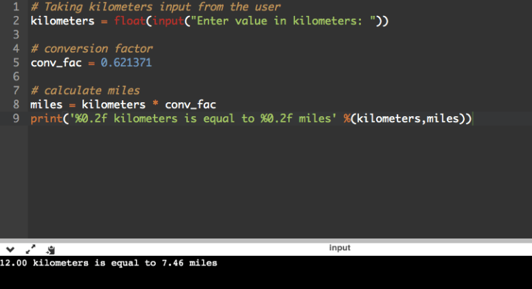 Python Program to Convert Kilometers to Miles