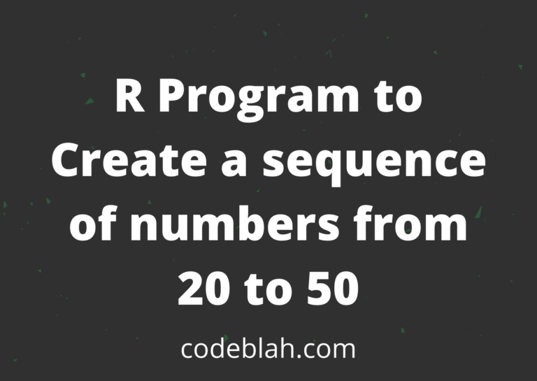 R Program to Create a Sequence of Numbers