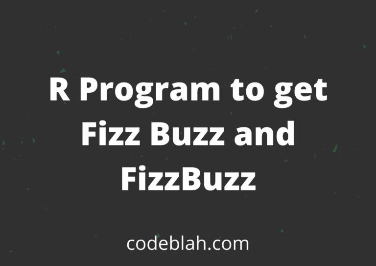 R Programming to Print Fizz Buzz